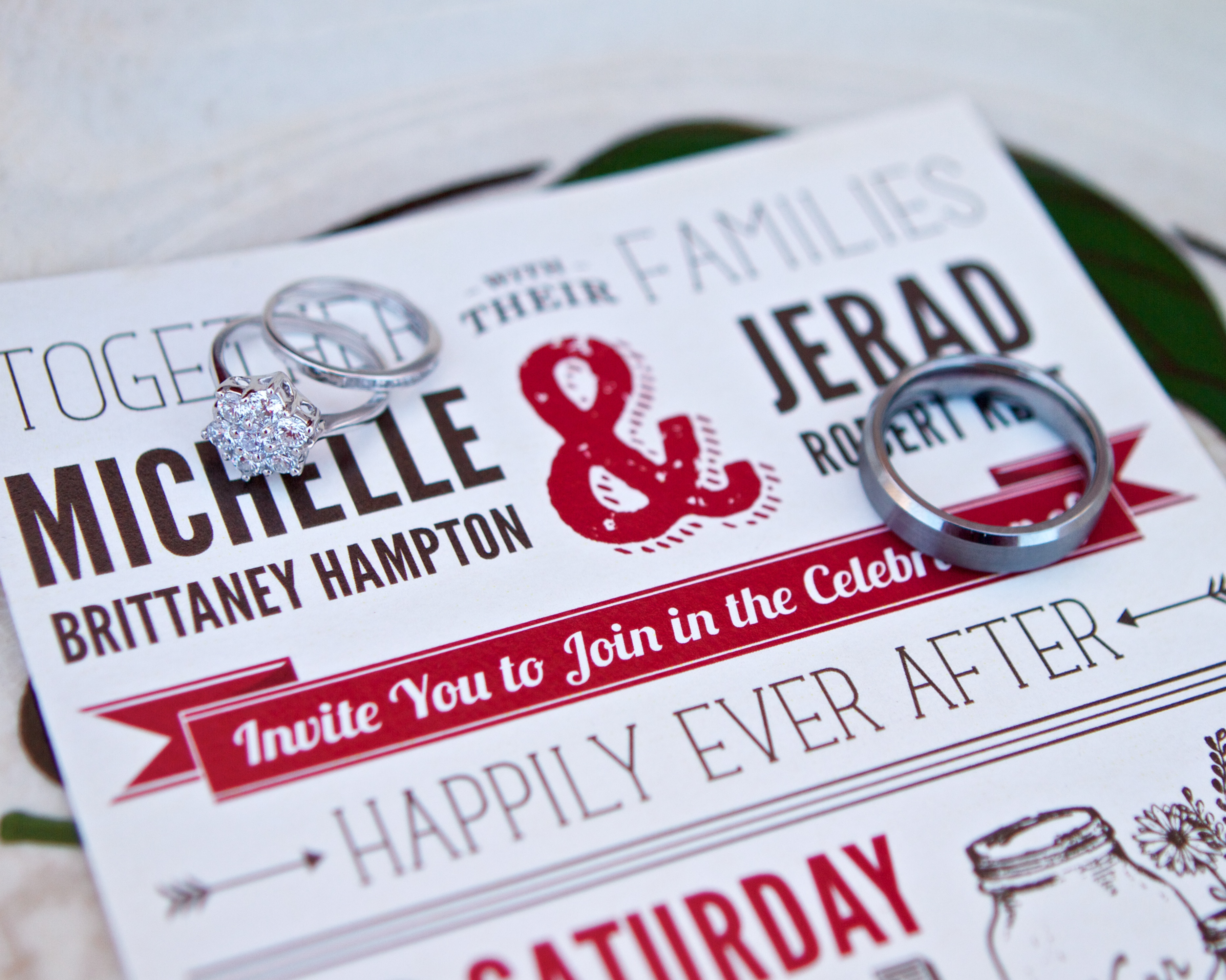 J&M rings & invitation